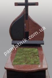 Одинарный памятник с крестом 1-00010 из лезниковского гранита и габбро
