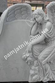 Эксклюзивный одинарный памятник из мрамора со скульптурой 115